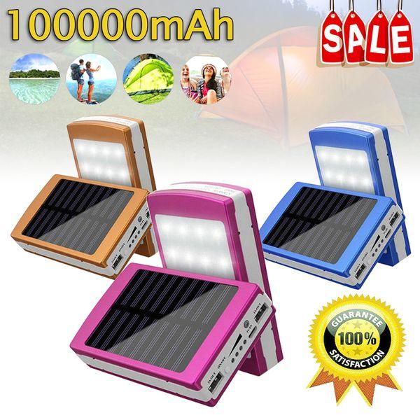 100000mAhSolar caricatore mobile di potere dual USB uscita porta un lato è condotto il pannello chiaro, da un lato è pannello solare ricaricabile e illum