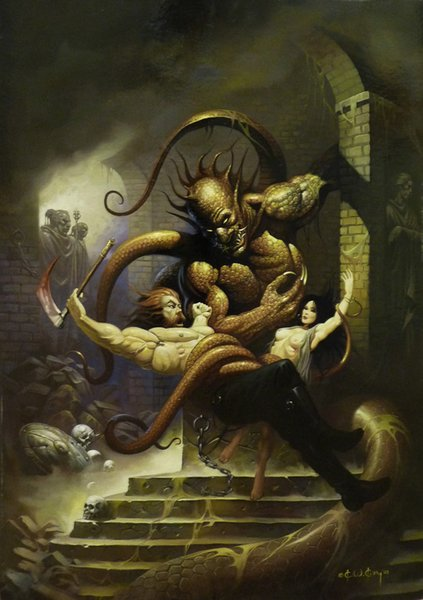 Fantasy Art Warriors Fighting The Monster,Oil Painting Reproduction High Quality Giclee Print on Canvas Modern Home Art Decor