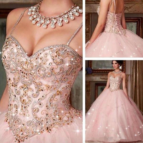 Crystal Beaded spaghetti straps de tul vestidos de bola Vestidos de quinceañera 2020 Vestidos de 15 Anos de longitud de Prom Vestidos con el cordón