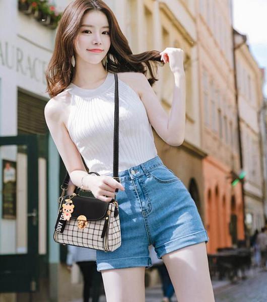 2018 novo temperamento das mulheres xadrez bolsa de ombro moda casual Messenger PU saco selvagem pequeno quadrado saco m1