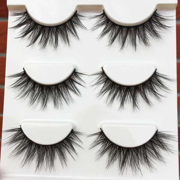 1 Box Of 3 Pairs Handmade Natural Long False Eyelashes Cross Winged Soft Thick Fake Eyelashes 0.07 Makeup Tools Eye Lashes