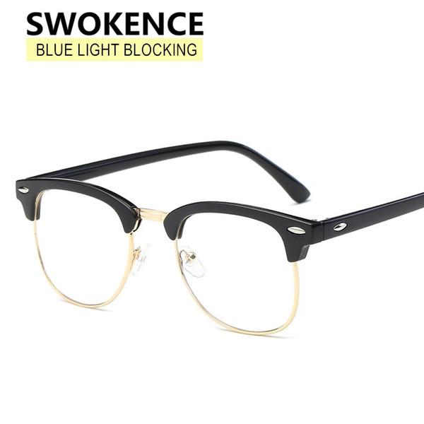 SWOKENCE Karşıtı Blue Ray Gözlük Kadın Erkek Klasik Marka Perçin Tasarım Düz Cam Gözlük Reçete Gözlük Çerçevesi F160