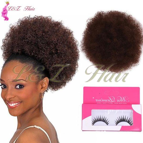 Parfait Messy Drawstring Ponytail Extensions Envelopper sur Morceau De Cheveux De Chignon Naturel Afro Puff Drawstring Ponytail Kinky Cheveux Synthétiques Bouclés