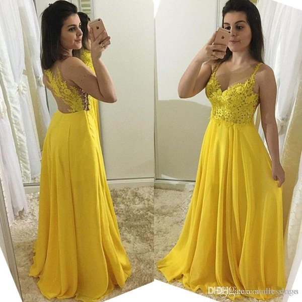 Sparkly Lace Appliques Yellow Long Prom Dresses 2019 Sexy Evening Dresses See Through A Line Long Party Bridesmaid Gowns