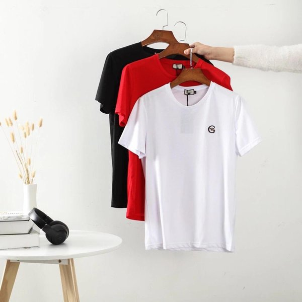 T-shirt in cotone ricamato nostalgico della nuova estate 2009 con collo tondo e maniche corte! Stile da coppia, traspirante e confortevole