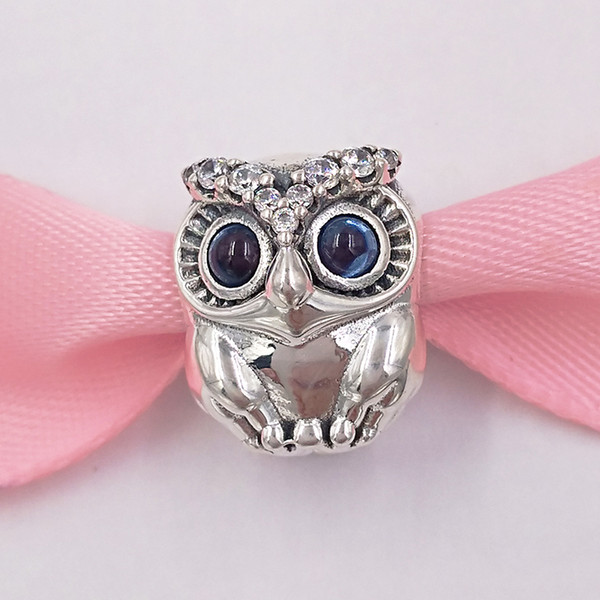 top popular Authentic 925 Sterling Silver Beads Sparkling Owl Charm Charms Fits European Pandora Style Jewelry Bracelets & Necklace 798397NBCB 2021