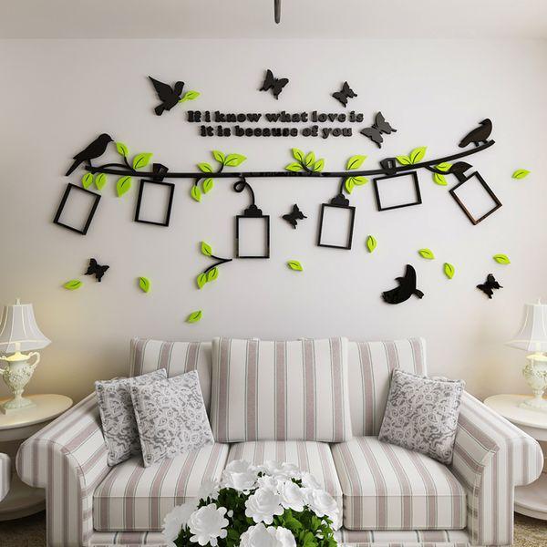 2019 nuevos adhesivos de fotos Acrílico 3D decorativos estereoscópicos sofá sala de estar dormitorio Fondo Muebles para el hogar pegatinas de aves