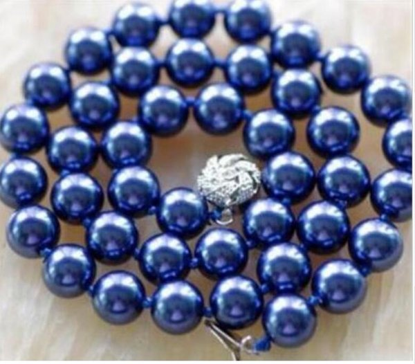 FREE SHIPPING + > 10MM Navy blue Shell Pearl Necklace 17