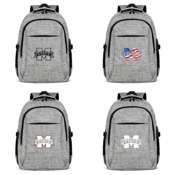 Mississippi Devlet Bulldogs futbol beyaz logo gri Womens Mens Seyahat Erkekler Için Laptop Sırt Çantası Sırt Çantaları ABD bayrağı İnme siyah pembe eski
