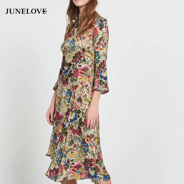 Juneloove kadınlar bahar üç çeyrek midi dress vintage baskı çiçek kadın balıkçı yaka asimetrik dress casual dantel-up dress