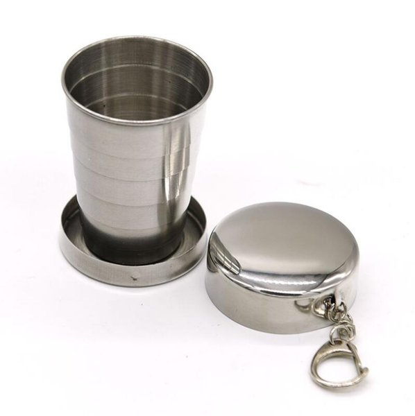 Stainless Steel Portable Outdoor Travel Camping Folding Foldable Collapsible Cup 75ml LX4222
