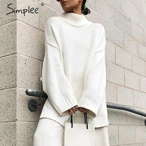 Maglione lavorato a maglia dolcevita da donna Simplee Autunno Maglione casual bianco a maniche lunghe di base a maniche lunghe Maglioni invernali da donna