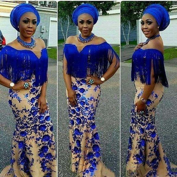 Дубай African Русалка Вечерние платья плюс размер с плеча Tassels Аппликации Цветы Пром платье Royal Blue платья халата де soirée