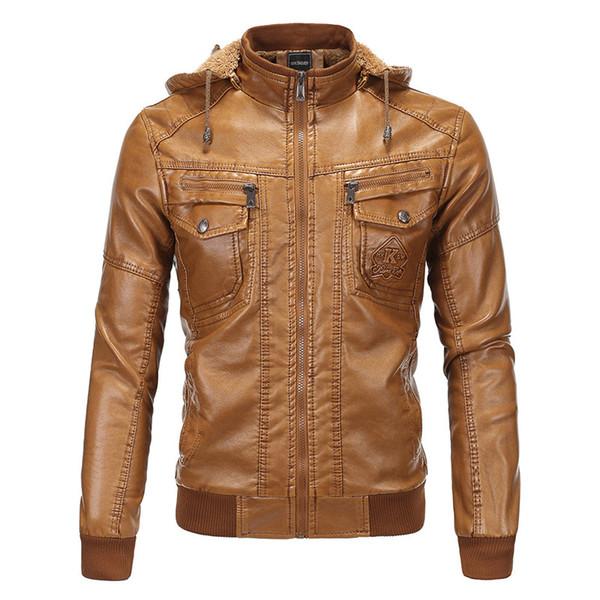 Kapüşonlu deri ceket erkek kış polar Ceket kalın sıcak erkek PU deri ceket moda erkek çok cep deri Ceket