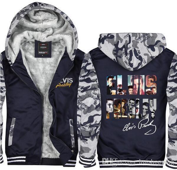 US EU Größe Elvis presley Hoodie Reißverschluss Tarnmantel Winter Fleece Verdicken Jacke Strickjacke Mantel Super Warme Sweatshirts
