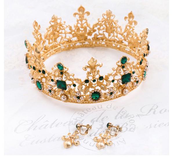 JaneVini Baroque Gold Hair Accessories Wedding Crown Princess Luxury Crystal Pearl Bridal Tiaras Women Earrings Pageant Indian Head Jewelry