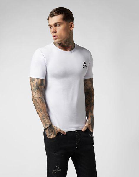 PP Mens Designer Marke T Shirts Neue Sommer Grundlegende Solide T-shirt Männer Mode Stickerei Schädel Kurzes T-shirt Männliche Qualität 100% Baumwolle T