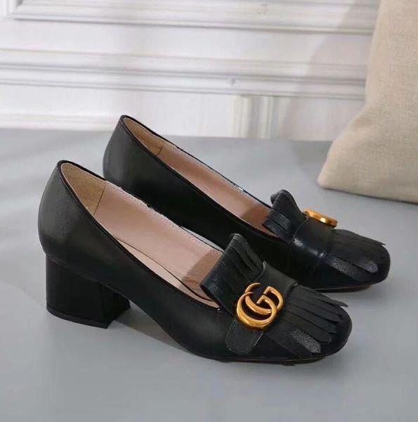 Yeni moda kadın Elbise Ayakkabı tıknaz topuklu Gerçek Deri ayakkabı kadın rahat püskül ayakkabı L40114