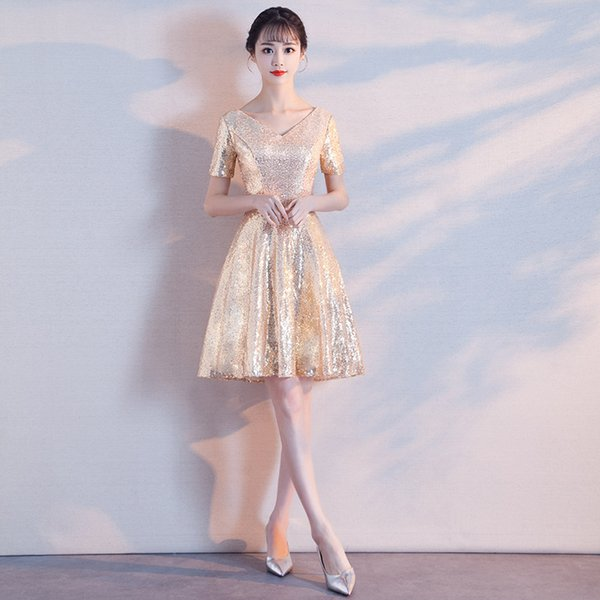 chinese Mini Evening Dress Bling Stars Formal Dresses Women Elegant V- Neck Party Gown qipao Vestidos Size S-XXL