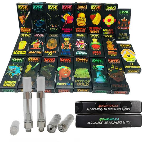M6T Dank Vapes Carts Holografische Box Verpackung 3D Design Leere Vaporizer Pen Patronen 0.8 / 1.0ml Keramikspule E Zigarette Zerstäuber Geschmack