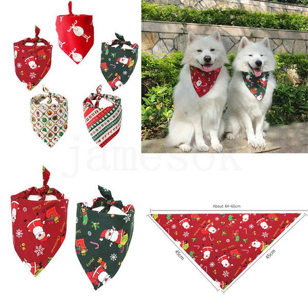 5 Estilo de cão de estimação Bandana Natal de algodão cão lenço babadores Collar Grooming Acessórios Christmas Pets triangular Scarf DC974