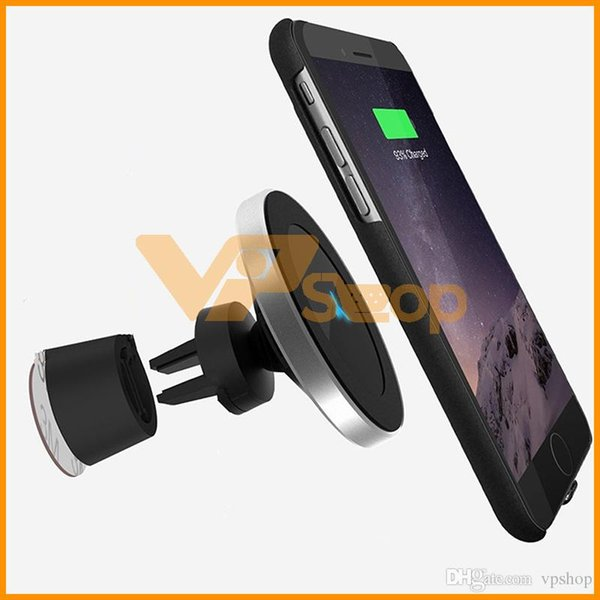 5W 10W Car Wireless Charger For iPhone XS Max Xr Samsung S10 Car Air Vent Magnetic Qi Wireless Charger 360 Degree Rotation
