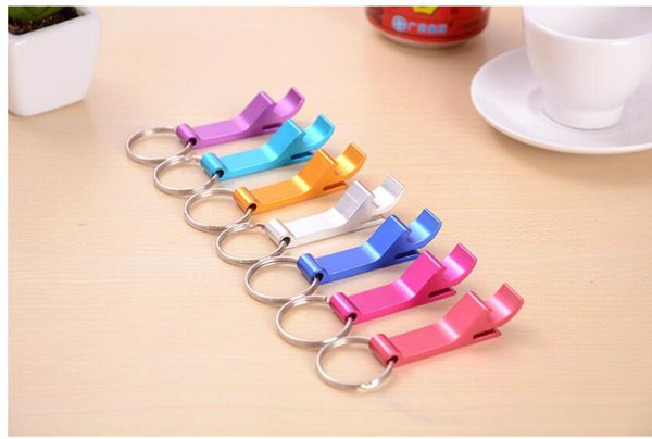 keychain ring beer Portable mini Bottle Opener Keychain multi colors Metal Beer bottle can openers home Bar party Tool 9colors