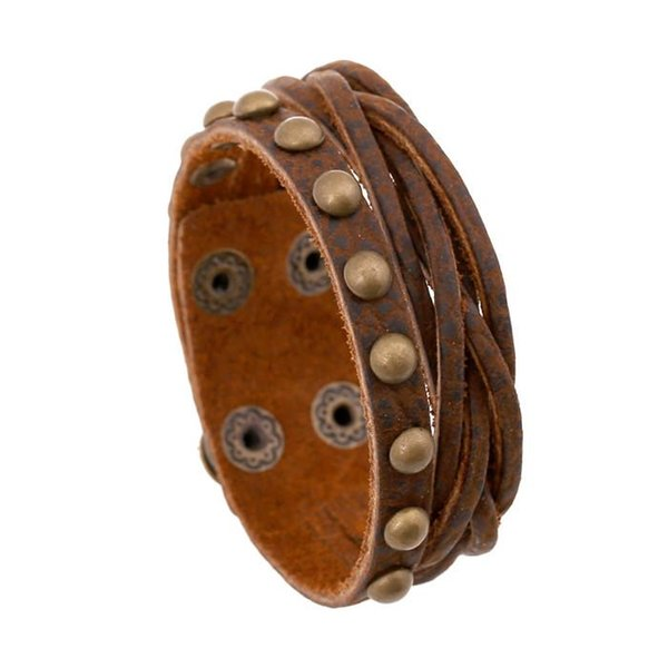 18 styles Retro Multilayer Genuine Leather woven Rivet Bracelets & Bangles for man woman Charm brown Wristband Jewelry boy Gift pksp8-10