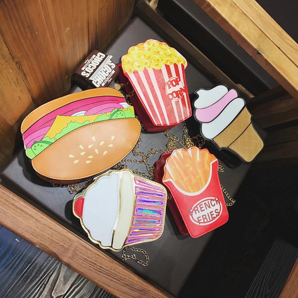 3D Zincir gıda Omuz Çantası Sevimli Dondurma Kek Hamburger Patlamış Mısır Kızartması crossbody çanta Debriyaj parti Telefon paketi hediye FFA1792
