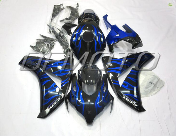 New Injestion Mold ABS motorcycle Full Fairings Kits+Tank cover Fit For HONDA CBR1000RR 08 09 10 11 2008 2009 2011 body custom blue flame