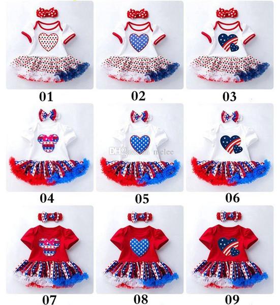 Star Blue Stripes 4 de julio Trajes para bebés Vestidos de tutú de fiesta mamelucos 100% algodón Baby Girl Romper Dress Diadema conjunto de ropa