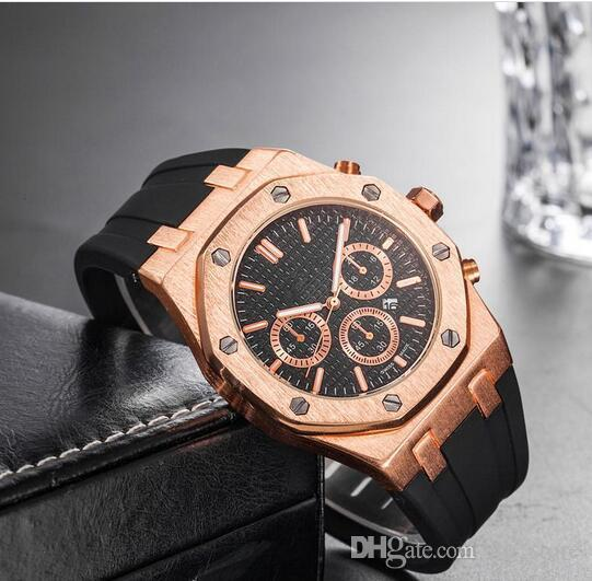top popular Brand Mens Mechanical Watches Royal Oak High Quality Luxury Crystal Silicone strap Designer Watch man Ladies women Casual watch 10 styles 2020