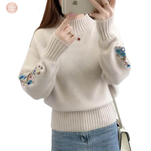 Sweater Women Winter Thick Warm Beautiful Embroidery Turtleneck Sweater Long Sleeve Knit Pullover Female Pull Femme