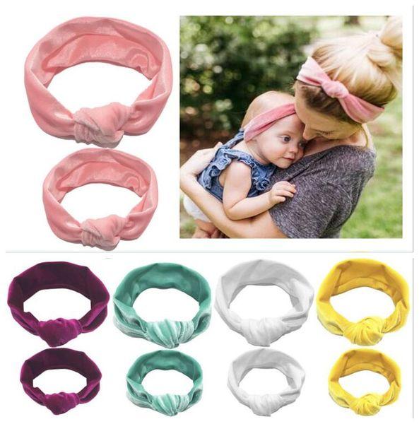 Girls Mommy Knot Headband Children Baby Girl Mum Women Lady Velvet Headbands Set 2PCS Velvet Hair Band