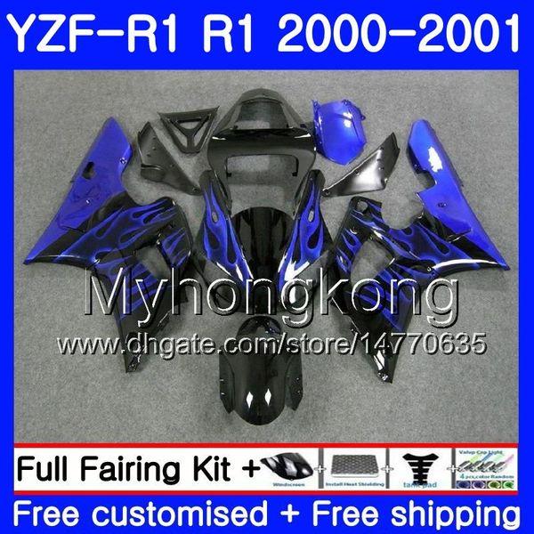 Corpo per YAMAHA YZF 1000 YZF R 1 YZF-1000 YZFR1 00 01 Cornice blu fiamme calde 236HM.22 YZF-R1 00 01 Carrozzeria YZF1000 YZF R1 2000 2001 Carenatura