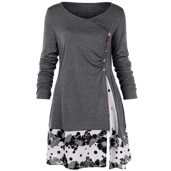 Plus Size 5xl Draped Floral Long Tunic Shirts Long Sleeve O-neck Buttons Embellished Women Blouse Spring Casual Tops Tee MX190714