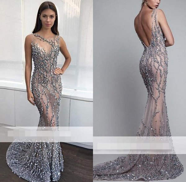 2019 Silver Beaded Elegant Evening Dresses V Cut Backless Sleeveless Jewel Neck Gorgeous Prom Party Gown BC1330