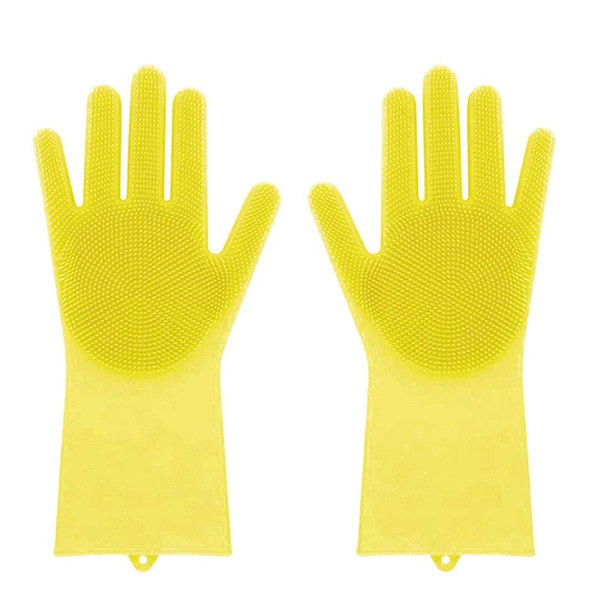 Magic Saksak Silicone Gloves Dishwashing Gloves with Cleaning Brush Scrubber, Reusable Brush Silicone Scrubber Heat Resistant Gloves