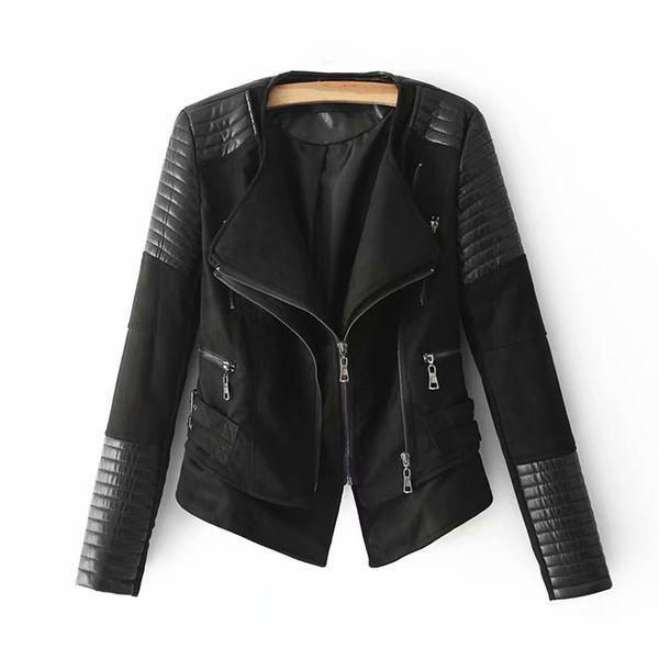 Neue Doppelkragen PU Jacken Frauen 2019 Chic Faux Lederjacke Damen Street Moto-Biker Kurze Mäntel Damen Black-Camel Kleidung