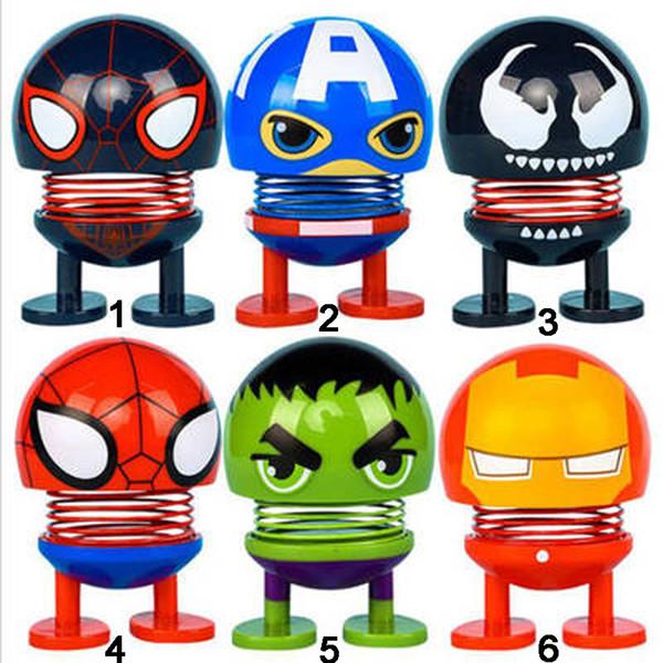 The Avengers Emoji Toys Shaking Head Decoración del coche Juguetes de descompresión Bobblehead Dolls Funny emoji Shaking head Toys