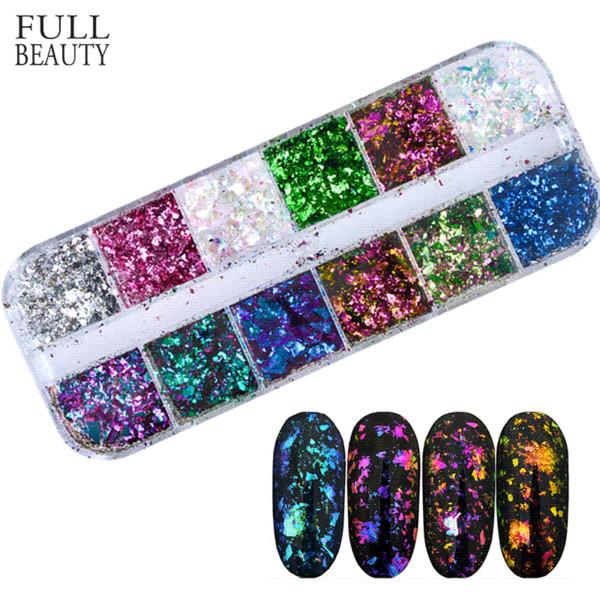 Belleza completa 12 colores deslumbrantes brillantes lentejuelas de uñas camaleón irregular espejo brillo polvo polvo bricolaje decoración de escamas de uñas CHBS