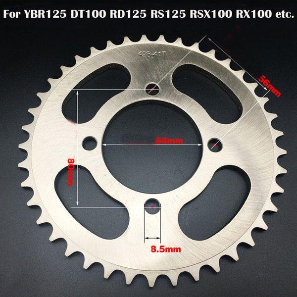 1 UNIDS Piñón de la motocicleta / YBR125 36-43T piñón de la motocicleta / Motor Sprocket 428 # 36/39/41/43 / 45T dientes / Motocicleta suciedad