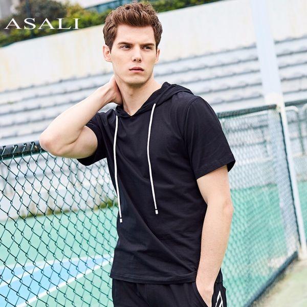 Asali Brand Hooded Tee Men 2018 Summer Hoodies New Cotton Mens Us Size Top Tees Men Solid Color Slim Fit Short Sleeve T Shirt Y19050701