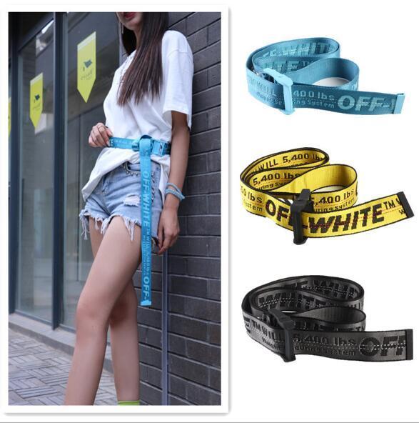 OFF-WHITE belt Marka moda yüksek kalite tuval kapalı kemer beyaz blet erkekler eğlence altın sarı kemer iyi yapılmış tuval erkek kadın kemerler 130-200 cm
