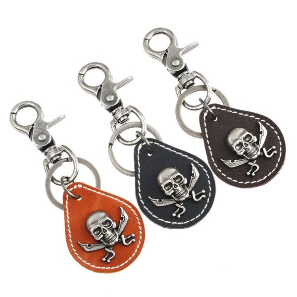 Gothic Punk Rock Skull Keychain Retro Silver Skeleton Leather Charms Holder Ring Hippie Bag Car Key Chain Hiphop Fashion Jewelry