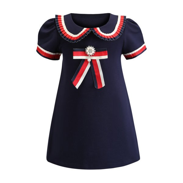 Retail Baby Girl Dresses 2019 Lapel Short Sleeve College Bowknot Cotton Casual Princess Prom Dress Kids Designer Clothes Children's Clothing