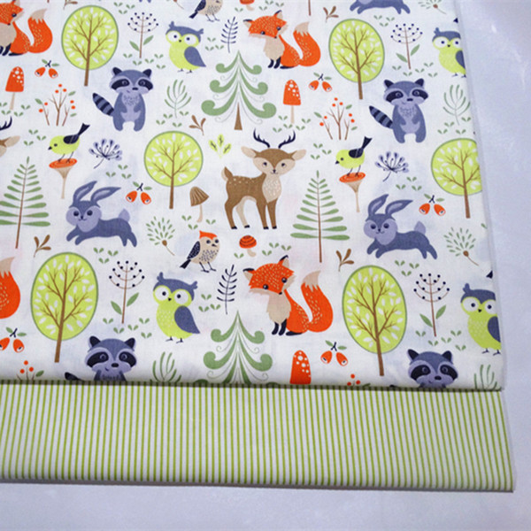 Forest/stripe cute print 100%cotton fabric for baby cloth 10yards/lot tomo1820