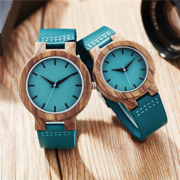 Blue Wood Watch Женщины Мужчины Повседневная Кожаный Ремешок Кварцевые Деревянные Часы Минималистские Рождественские Подарки Reloj Mujer