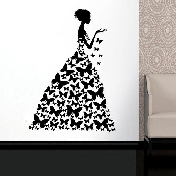 Woman Face Fashion Style Robe Chambre robe noire Décoration papillon Wall Sticker Art Vinyl affiche Art Mural Stickers design