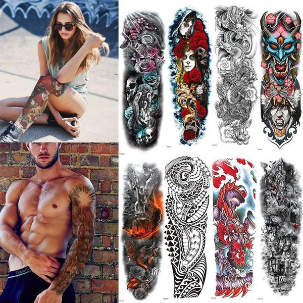 FULL SLEEVE ARM TEMPORARY TATTOO Full Flower Arm Waterproof Temporary Tattoo Sticker Skull Angel Rose Body Art for Men Women